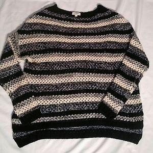 Umgee loose-knit striped sweater large boxy